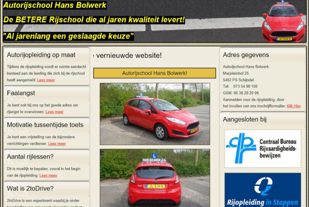 Portfolio - Autorijschool Hans Bolwerk - JB Webdesign & Ontwerp
